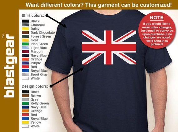Union Jack United Kingdom T-shirt — Any color/Any size - Adult S, M, L, XL, 2XL, 3XL, 4XL, 5XL  Youth S, M, L, XL