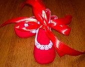 Valentine red mary jane ballet crib shoes, Reduced, One Size Only Medium,  FREE SHIPPING US