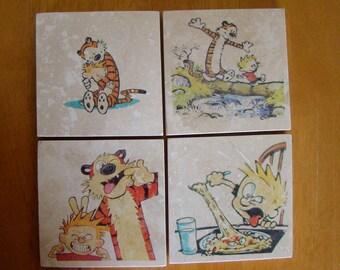 Calvin & Hobbs Drink Coasters Set of 4