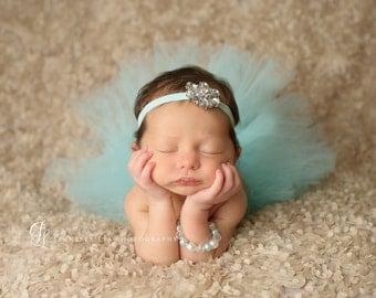 Tutu and Headband Set - Aqua Velvet & Jewels -  Luxe Tutu and Headband - Newborn Tutu - Girls Infant Baby Child Toddler Tutu