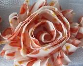 1 Yard - Shabby Frayed Flowers - Orange Valentine