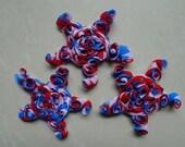 12 PCS Patriotic Red, White, Blue Rose Mesh Chiffon Stars -