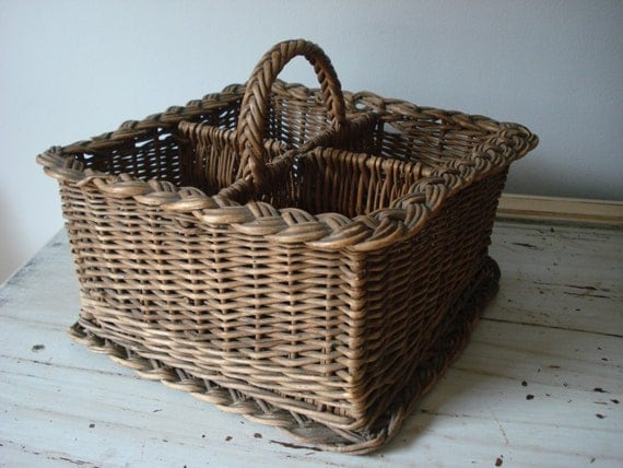 Vintage Divided Wicker Basket By Comfortablyvintage On Etsy
