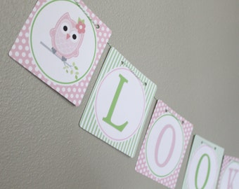 LOOK WHOOO'S .... OWL Theme Birthday or Baby Shower Party Banner Pink Green