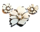 Sarah Coventry brooch, 1960s signed white brooch and clip earrings  'New Summer Magic' white enamel set silver tone flower