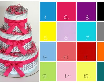 SALE Chevron Diaper cake , Chevron Baby Shower , CHOOSE COLOR , pink ,gray, blue, yellow , aqua , lime green , Baby Shower Decorations