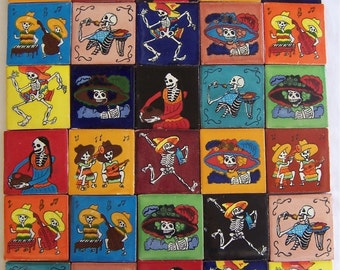 "30 Hand Painted Day of the Dead Mexican  Talavera Tiles 2"" X 2"" Tiles"