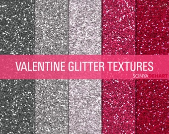 80% OFF Sale Glitter Digital Paper Glitter Textures Printable Paper Pack Valentine's Day
