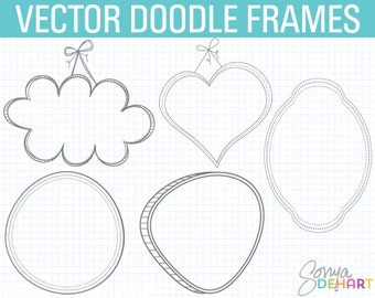 Digital Frames, Doodle Frame Clipart, Doodle Clipart, Hand Drawn Clipart, Frames Clipart, Doodle Frame, Doodle Clip Art