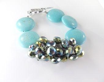 """Aqua and turquoise mini cha cha bracelet   (7"""")"""