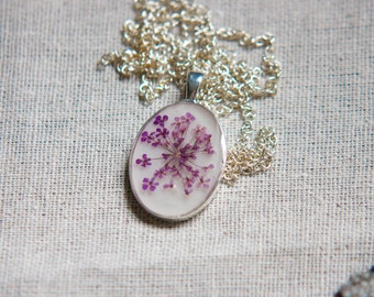 pressed flower necklace real woodland jewelry pendant handmade botanical necklace purple red green white orange yellow pink queen annes lace