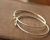 Sterling silver hoops 1.5 inches medium hammered solid silver