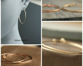 "Gold Hoops 14 k Gold Fill Hoop Earrings Medium Hoop 1.5 inches--""Compass"""