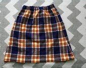 1960s handmade tartan plaid wool pencil skirt // medium