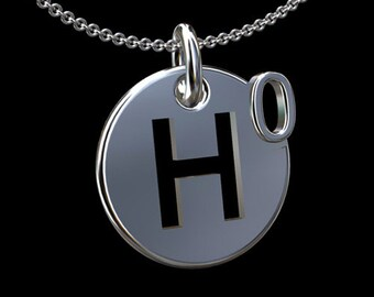 14K Solid White Gold Higgs Boson God Particle Disc Pendant