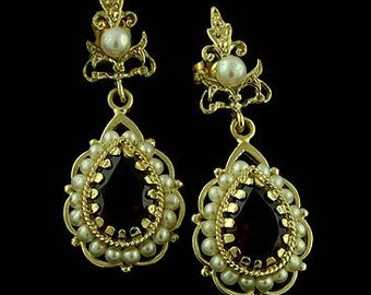 Victorian Style Garnet and Pearls Earrings Solid 14k Yellow Gold