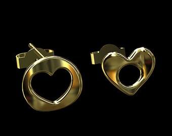 14K Gold Silhouette Heart & Circle Earrings