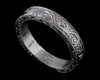 Engraved Mens Wedding Band Vintage Replica Ring Art Deco Style