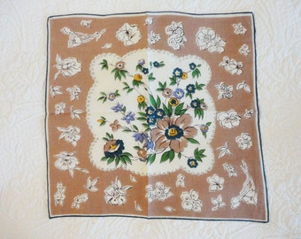 Vintage Floral Handkerchief in Tans and Teals - Hand-rolled Linen