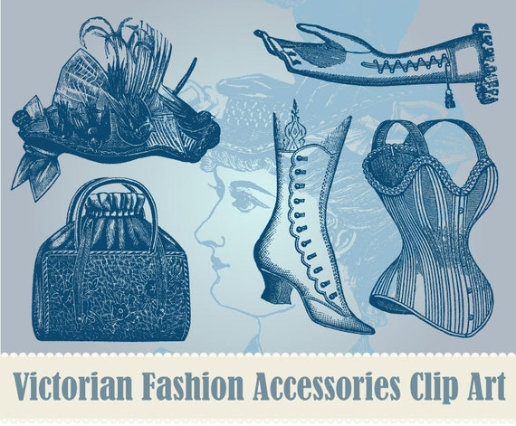 15 Victorian Fashion Accessories Clip Art Collection - 100% Scalable Vector Art