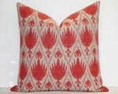 Casablanca Flax Ikat Decorative Pillow Cover / Coral Red / Throw Pillow / Accent Pillow / Geranium, Red Pillow , Coral Pillow, Flax PIllow