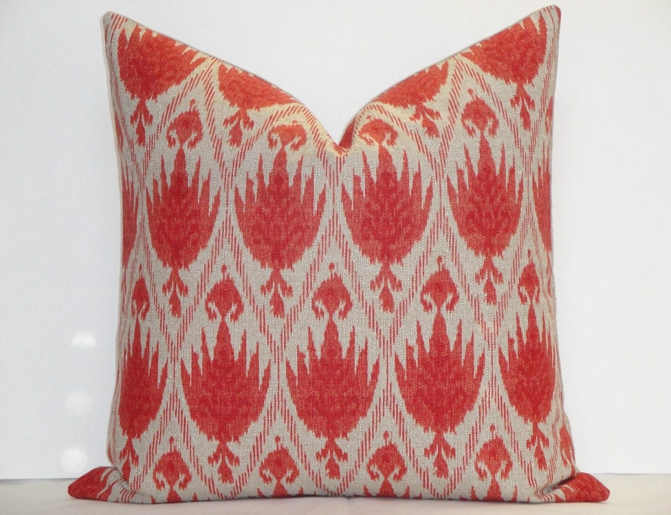 Casablanca Flax Ikat Decorative Pillow Cover / Coral Red