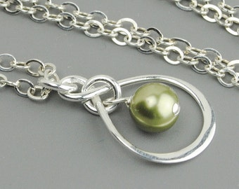 Pearl Infinity Necklace - Sterling Silver And Sage Green Pearl Inifintiy Necklace - Bridesmaid Jewelry - Swarovski Pearl Pendant Necklace