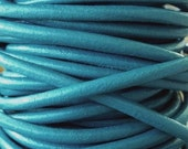 Deep Blue Turquoise Leather Cord 3 MM 9 Ft Jewelry Craft Supply 3 yards