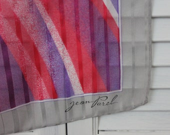 Vintage Pink, Purple and Grey Head or Neck Scarf Signed Jean Parcel