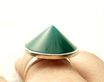 green agate cone ring