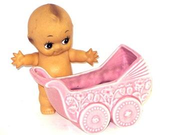 Pink Baby Buggy Planter Soft Rose Ceramic Pram Childrens Room Nursery Decor Photo Prop