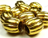 9mm Antique Gold Fluted Metal Beads - 20pcs - Corrugated, Round, Lead and Nickel Free - BG24