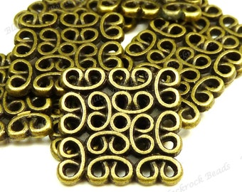 12 Antique Bronze Square Metal Connectors 15mm - Components, Links, Findings - BH22
