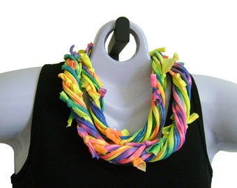 TIEDYE FABRIC NECKLACE, Neon Rainbow Colors. Recycled T-shirt Fabric, Ready to Ship