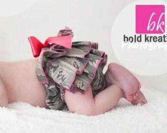 Air Force diaper cover, ABU ruffle bloomers, military ruffle bloomers, newborn-2t CAMO BLOOMERS