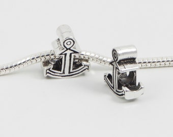 3 Beads - Nautical Anchor Ship Silver European Bead Charm E0101