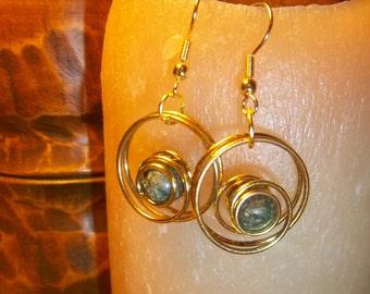 Circle Earrings with Green Jasper Beads