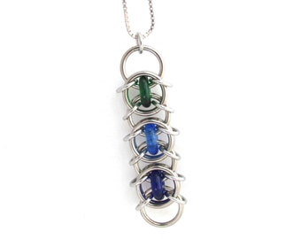 Chain Maille Pendant, Glass Pendant, Multicolor Necklace, Green Blue Glass Jewelry