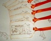 Winnie the Pooh Thank you gift tags-Classic Pooh favor tags-Birthday party favors-Christopher Robin-Set of 6