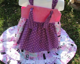 Shades of Pink Tie Knot Apron Girls Dress  Girls Size 6