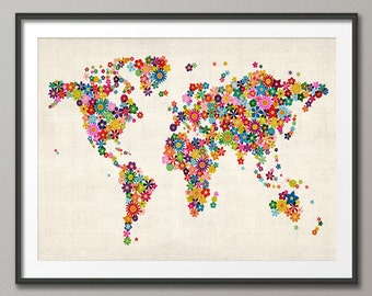 Flowers Map of the World Map, Art Print (171)