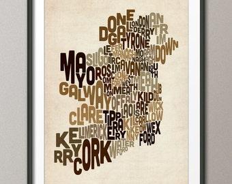 Ireland Eire County Text map, Art Print (223)