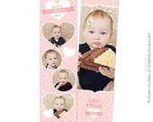 INSTANT DOWNLOAD - Valentine's Bookmark photoshop template - Valentine's designs for photographers - E670