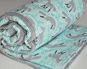 Gray Fox Baby Blanket, Gender Neutral Baby Blanket, Minky back Blanket, Socks the Fox gray/aqua collection