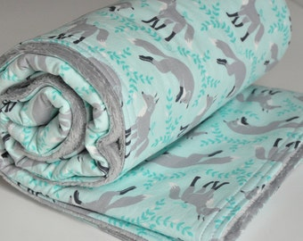 Gray Fox Baby Blanket, Gender Neutral Baby Blanket, Minky back Blanket, Socks the Fox gray/aqua collection