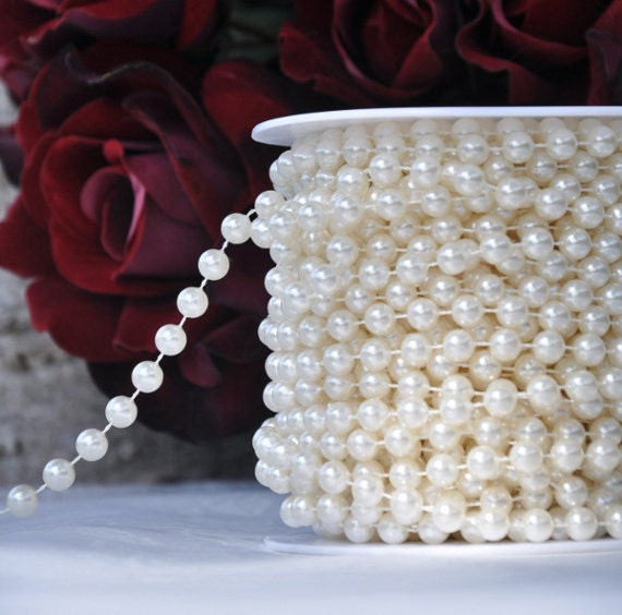 8mm Ivory Pearl Beads On A Spool Roll 66 Foot Strand By LaZoie