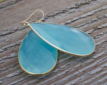 AQUA BLUE CHALCEDONY gold earrings