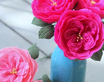 3 heirloom paper roses for weddings