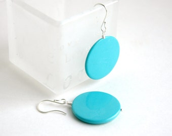 Turquoise blue earrings, Sterling silver, Dangle earrings, Large earrings, Gift for her, Summer jewelry