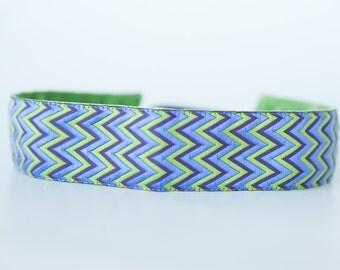"No Slip Headband Blue and Green ZigZag Jacquard 1.5"" Wide"